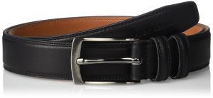 Geoffrey Beene Men's Feather Edge Dress Belt With Brushed Gunmetal Buckle