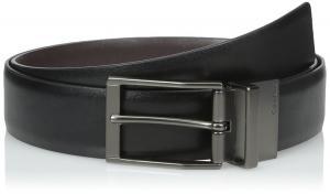 Calvin Klein Mens Black/Brown Reversible Belt w/ Gunmetal Buckle