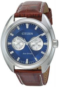 Citizen Men's 'Dress' Quartz Stainless Steel and Leather Casual Watch, Color:Brown (Model: BU4010-05L)