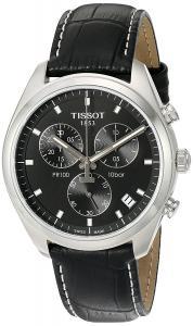Tissot Men's 'Pr 100' Swiss Quartz Stainless Steel and Leather Dress Watch, Color:Black (Model: T1014171605100)