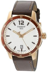 Tissot Men's 'Quickster' Swiss Quartz Stainless Steel and Leather Watch, Color:Brown (Model: T0954103603700)
