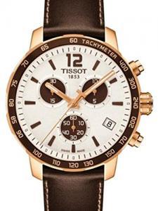 Tissot Unisex Brown Leather Band Gold Tone Steel Bracelet Swiss Quartz White Dial Watch T0954173603701