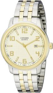 Citizen Quartz Silvertone and Goldtone Men's Day Date Watch