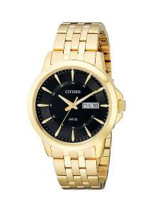 Citizen Men's Everyday Men's Black Dial Goldtone Stainless Steel Watch