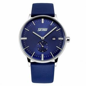 Men's Unique Quartz Analog Casual Classic Waterproof Dress Wrist Business Watch with Quartz Analog Dial and Seconds Sub-dial Leather Strap - Blue