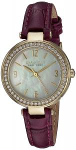 Bulova Women's Quartz Stainless Steel and Leather Casual Watch, Color:Purple (Model: 44L176)
