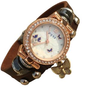 Fashion Women's Lady's Leather Wrist Bracelet Watch with Retro Butterfly Charm Perfect as Gift