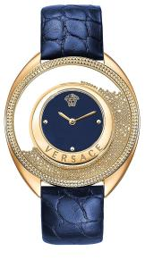 Versace Women's 'DESTINY SPIRIT Small' Swiss Quartz Stainless Steel and Leather Casual Watch, Color:Blue (Model: VAR030016)