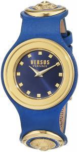 Versus by Versace Women's 'Carnaby Street' Quartz Stainless Steel and Leather Casual Watch, Color:Blue (Model: SCG040016)