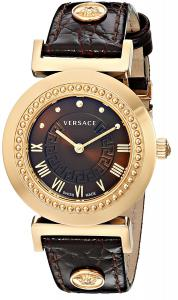 """Versace Women's P5Q80D598 S497 """"Vanity"""" Rose Gold Ion-Plated Watch with Brown Leather Band"""
