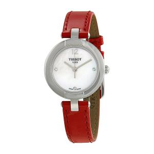 Tissot T-Trend Pinky Mother of Pearl Dial Red Leather Ladies Watch T0842101611600