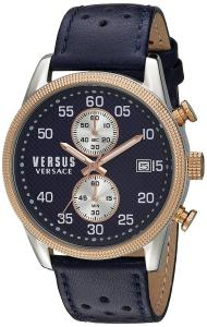 Versus by Versace Men's 'SHOREDITCH' Quartz Stainless Steel and Leather Casual Watch, Color:Blue (Model: S66080016)