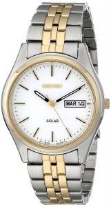 Seiko Men's Two-Tone White Dial Solar Calendar Watch
