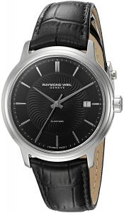 Raymond Weil Men's 'Maestro' Swiss Automatic Stainless Steel and Leather Casual Watch, Color:Black (Model: 2237-STC-20001)