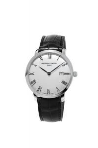 Frederique Constant Men's 'Slimline' Automatic Stainless Steel and Leather Casual Watch, Color:Black (Model: FC-306MR4S6)