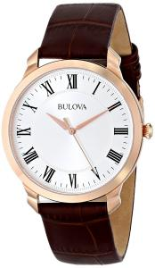 Bulova Men's 97A107 Gold-Tone Stainless Steel Watch with Brown Leather Strap