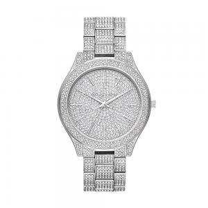 Michael Kors Watches Womens Slim Runway Stainless-Steel and Pavé Watch