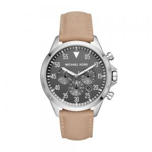 Michael Kors Watches Mens Gage Stainless-Steel and Taupe Leather Watch