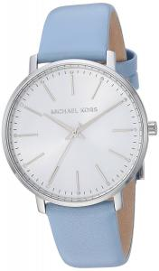 Michael Kors Watches Womens Stainless-Steel and Pale Blue Leather Pyper Watch