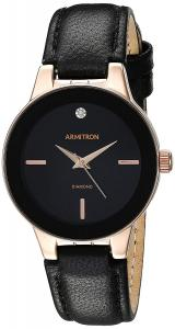 Đồng hồ Armitron Women's 75/5410 Diamond-Accented Leather Strap Watch Black/Rose Gold
