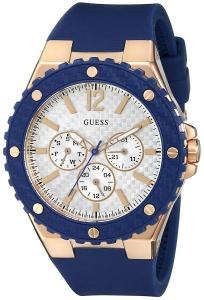 Đồng hồ GUESS Women's U0452L3 Sporty Oversized Multi-Function Watch on a Comfortable Navy Blue Silicone Strap with Rose Gold-Tone Accents
