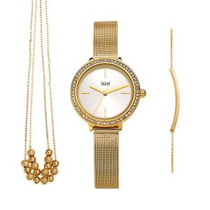 Đồng hồ Burgi BUR216 Women's Jewelry Gift Set – Swarovski Crystal Bezel Watch, Beaded Chain Link Necklace and Crystal Bracelet – Flash Plated Gold and Silver