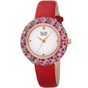 Đồng hồ Burgi Women's BUR227 Swarovski Colored Crystal & Diamond Accented Leather Strap Watch Packed in a Beautiful Gift Box