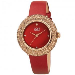 Đồng hồ Burgi Women's BUR227 Swarovski Colored Crystal & Diamond Accented Leather Strap Watch màu đỏ