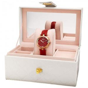 Burgi Women's Watch Gift Set BUR309 - Includes Diamond Accented Flower Dial with Leather Strap and a Mirrored Gift Box
