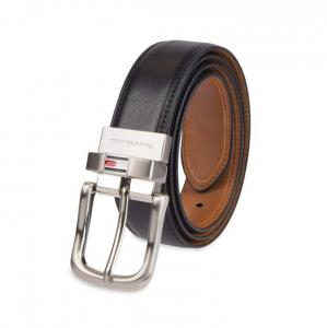 Dây lưng Tommy Hilfiger Reversible Leather Belt - Casual for Mens Jeans with Double Sided Strap and Silver Buckle  11TL02X188 Black/Tan Stitch