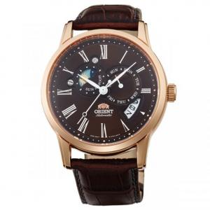 Đồng hồ Orient Sun and Moon Version 2 Brown Dial Brown Leather Strap Automatic Watch ET0T003T