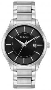 Đồng hồ Bulova Men's Classic Quartz Black Dial Silver-Tone Bracelet 40mm Watch 96B267